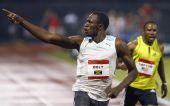 图文:博尔特打破百米世界纪录 博尔特欢呼致意