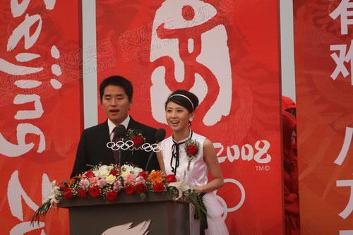 圣火传递荆州站起跑仪式青春靓丽女主持人