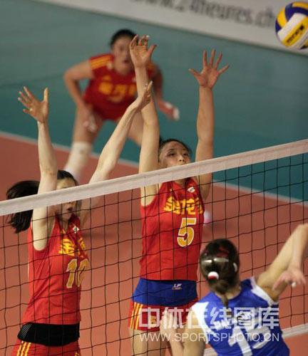 中国女排姑娘拦网