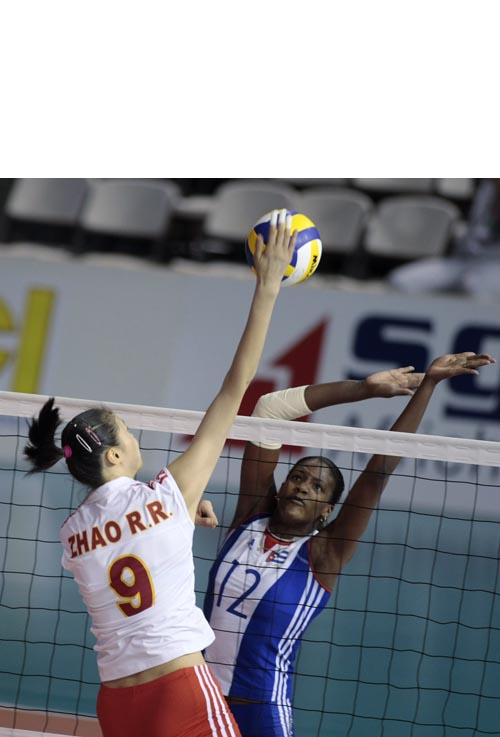 图文:瑞士赛女排1-3不敌古巴 赵蕊蕊扣球