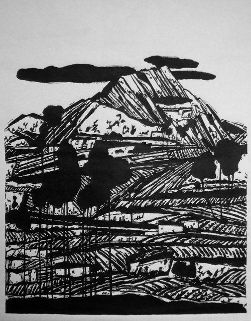 蔡丽辉:《乌龟山上的祥云》70x75cm宣纸版画图片