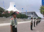 组图:圣火南宁传递 结束现场国际会展中心安保