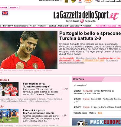 《米兰体育报》意大利语站截屏