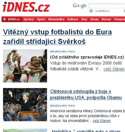 捷克《今日报》截屏