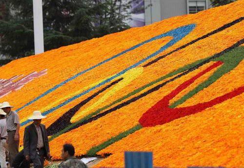 奥运五环花坛正式亮相