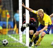 图文:[欧洲杯]瑞典战胜希腊队 汉森惊天怒吼