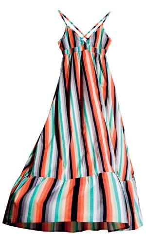红绿黑白间条吊带长裙 港币99元 很适合身形高挑的女生