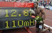 图文:罗伯斯12秒87破刘翔纪录 创造新的纪录