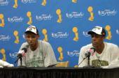 图文:[NBA]凯尔特人夺冠 雷-阿伦与兰多出席