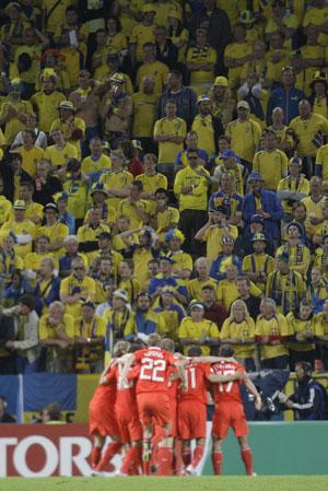 在瑞典球迷面前庆祝
