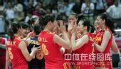 图文:中国女排3-2巴西女排 队员击掌庆祝胜利