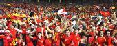 图文:西班牙4-2意大利 球迷欢庆胜利