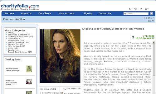 安吉丽娜-朱莉夹克拍卖的网页页面