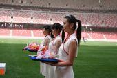 图文:北京奥运会主会场 颁奖仪式志愿者演练
