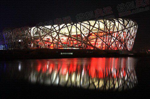 """图文:北京奥运会主会场""""鸟巢"""" 鸟巢夜景"""