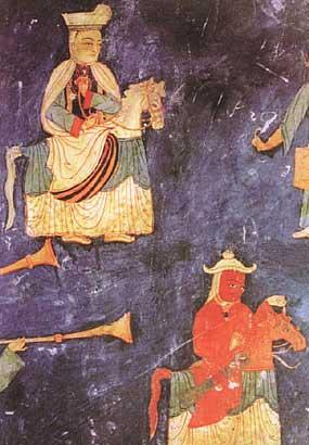 (西藏古格都城寺院的《马戏图》壁画)