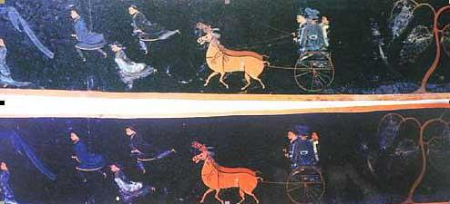 清产彩绘《出行图》:前首为具长途奔跑能力并负责引导的武士