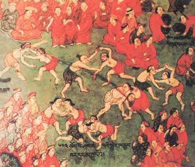 布达拉宫落成仪式壁画中的摔跤竞赛•清代