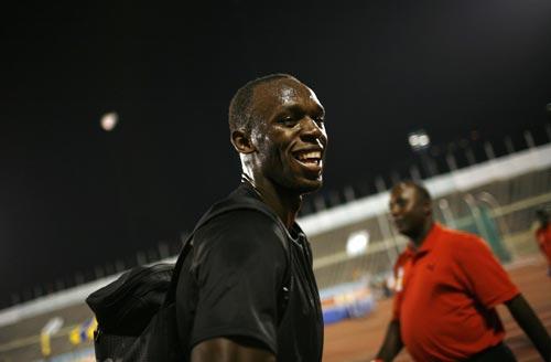 图文:牙买加田径选拔赛 博尔特笑容满面