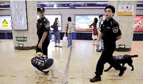 昨天,安检员携警犬在地铁东直门站内进行巡逻。 新华社记者 罗晓光 摄