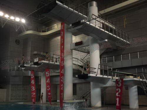 西安火炬手张挺所在的陕西省游泳队孩子们在训练_5650