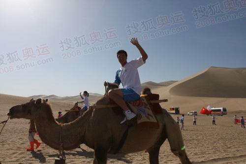 美女护跑手骑在骆驼上