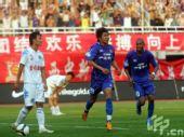 图文:[中超]陕西2-1长沙 姜晨庆祝破门