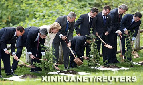 7月8日,意大利总理贝卢斯科尼、英国首相布朗、德国总理默克尔、美国总统布什、日本首相福田康夫、法国总统萨科齐、俄罗斯总统梅德韦杰夫、加拿大总理哈珀和欧盟委员会主席巴罗佐(从左至右)在植树典礼上。当天,在日本洞爷湖出席八国峰会的领导人在峰会主会场温莎饭店参加了一个植树典礼。 新华社/路透