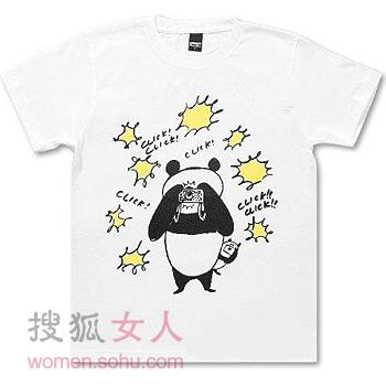 熊猫装之图案t恤