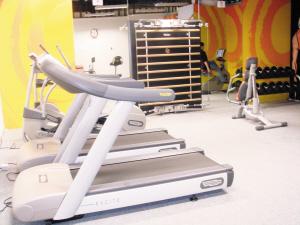 供记者免费使用的健身器材。时报记者 许可 摄