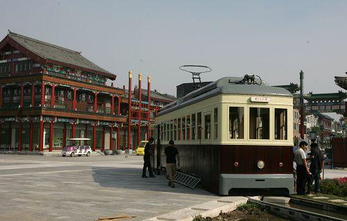 改造现场的有轨电车