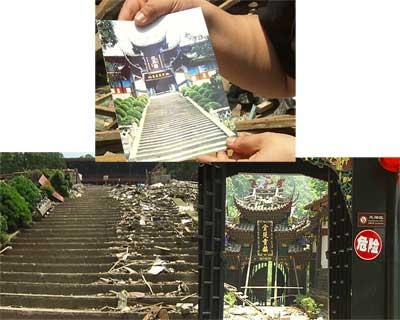 """图片02:都江堰通往二王庙的必经之路上几乎所有的房子都成为危房,房子破损的非常严重,有的已经贴上""""危险""""的字样,王二庙前的52级台阶上去是一个宽阔的戏台,所有的建筑全部倒塌,两侧的圆柱从根部折断,戏台的地面堆满了倒塌的瓦砾,从地震至今,二王庙景区已经全面处于关闭状态。"""