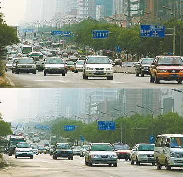 北京中心城区的车流在2007年奥运测试赛交通限行前(上)后(下)差异明显。