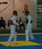 图文:中国跆拳道队进行教学表演 刘哮波在比赛