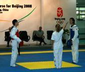 图文:中国跆拳道队进行教学表演 陈中获得胜利