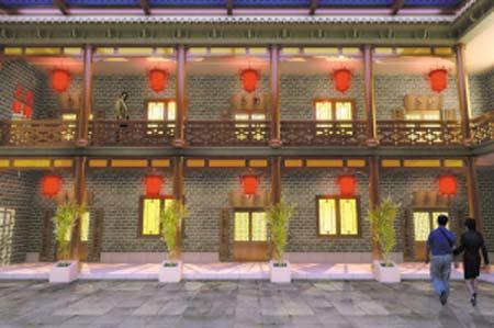 京剧建筑手绘效果图