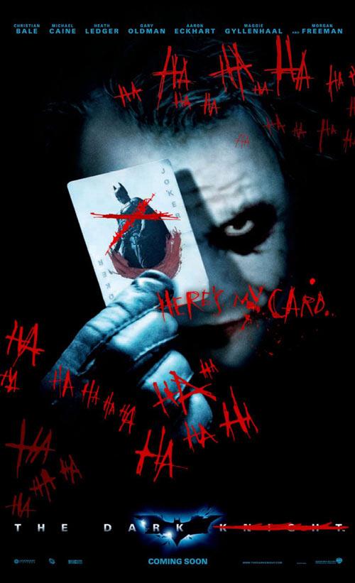 《蝙蝠侠前传2:黑暗骑士》的血腥涂鸦版海报