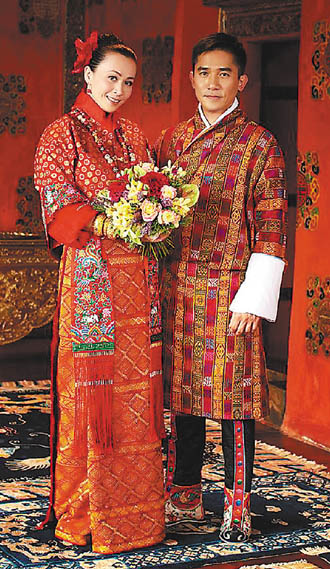 影星梁朝伟和刘嘉玲经过近廿年爱情长跑,今天在佛国不丹举行婚礼
