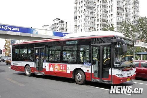 7月20日拍摄的奥运公交专线7路车。新华网 杨理光 摄