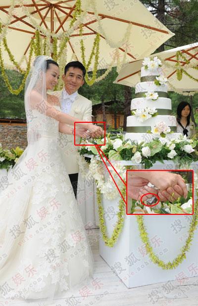伟玲世纪婚礼现场图:梁朝伟送12克拉钻戒