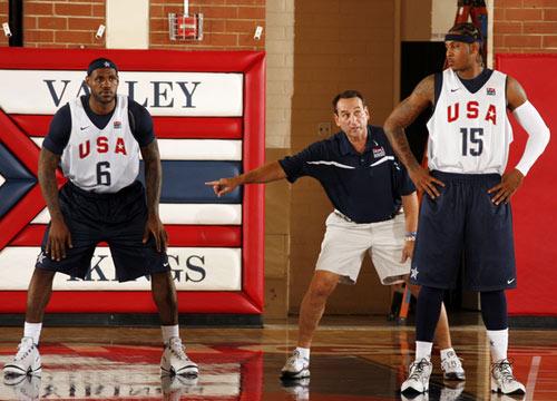 图文:梦八篮球队训练 詹姆斯与安东尼训练
