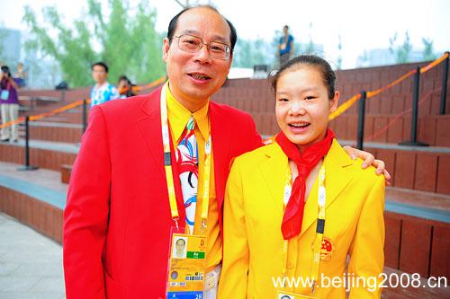 图文:北京奥运村开村 陈菲陆善真合影
