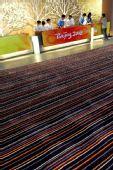 图文:青岛奥运村开村 接待大厅前铺设的地毯