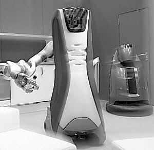 设计之初,研究人员有意避开了仿生家政机器人的外形.图片