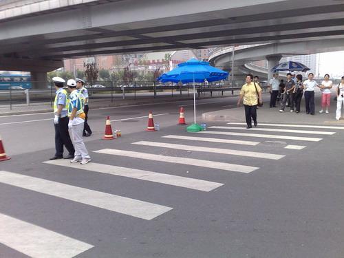图文:奥运会开幕式彩排 北辰西路路口
