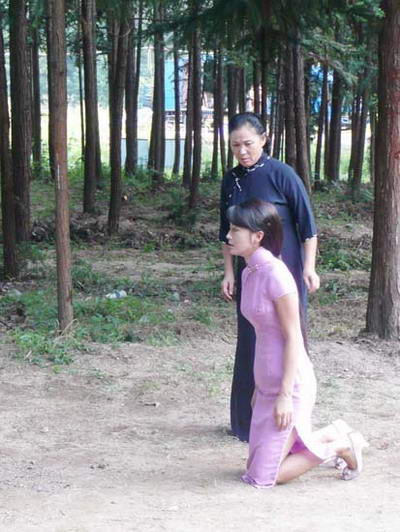 秦岚跪在母亲坟前