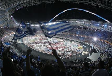 2004年8月13日,雅典奥运会开幕式场景