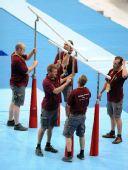 图文:国家体育馆装扮一新 安装双杆