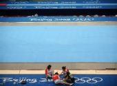 图文:国家体育馆装扮一新 布置赛场