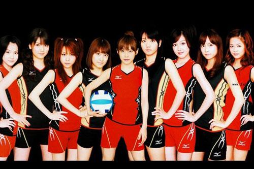 早安少女组以排球队造型为北京奥运会应援